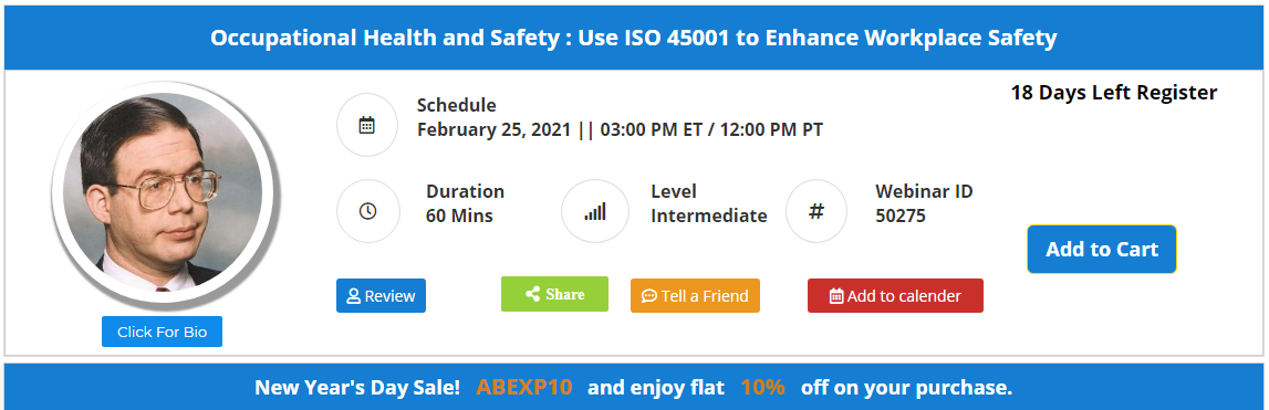 Occupational Health and Safety : Use ISO 45001 to Enhance Workplace Safety
